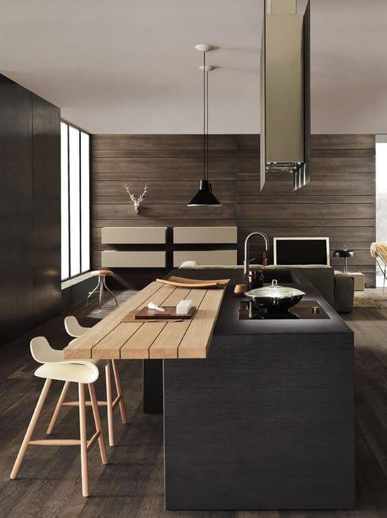 Minimalistische keuken met strakke bar