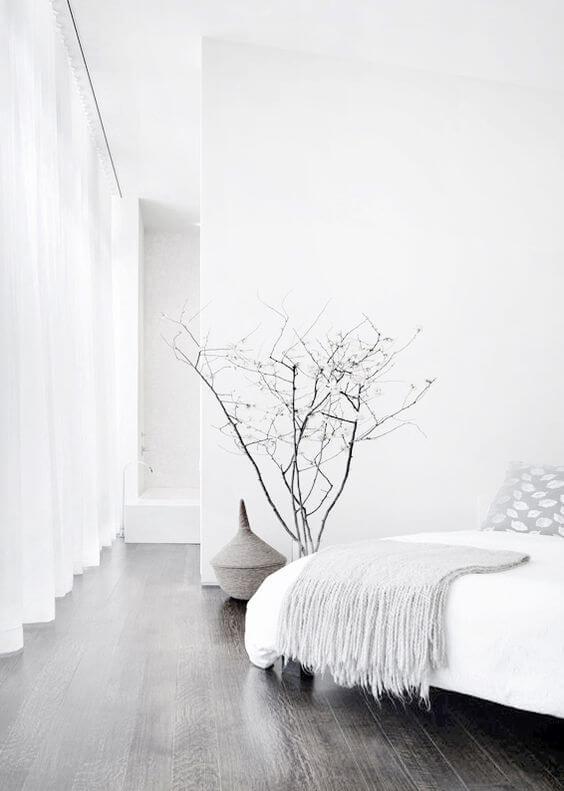 minimalistische witte slaapkamer
