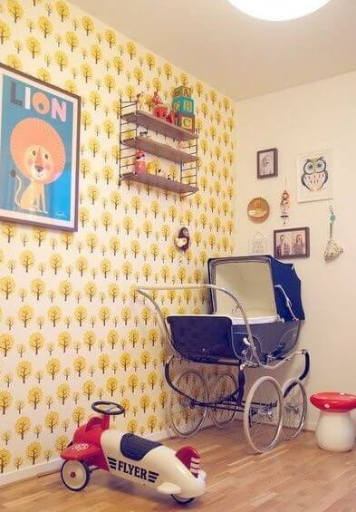 rétro accessoires in de babykamer