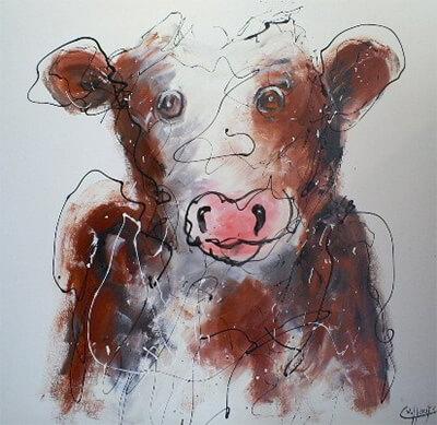 Schilderij koe voor kinderkamer