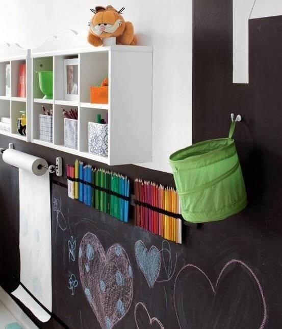 Schoolbordverf in de kinderkamer is een leuk schilder idee