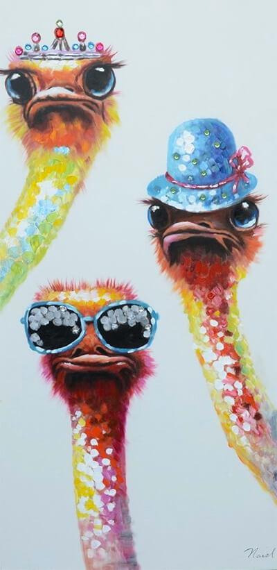 Struisvogels kunstwerk voor kinderkamer