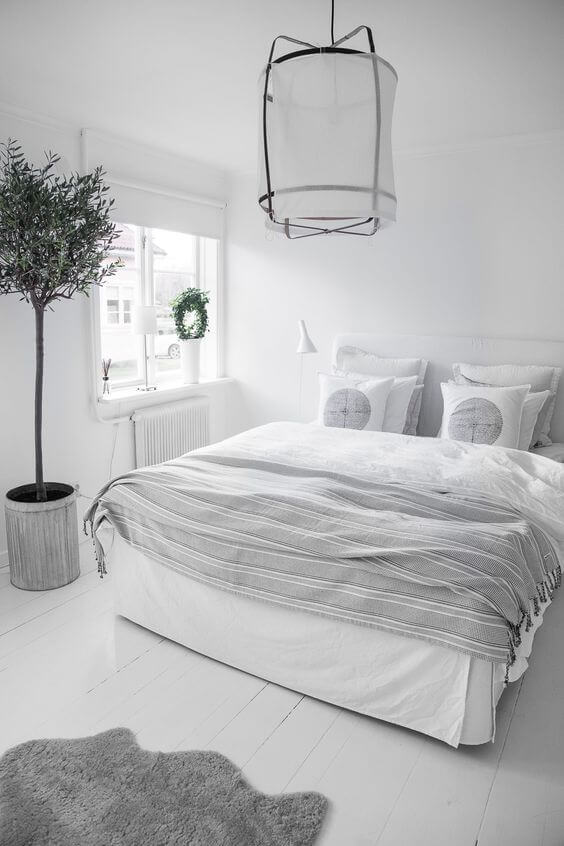 wit met grijze slaapkamer