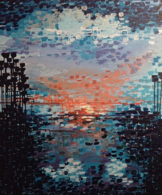 abstract schilderij avondrood anneke swanink