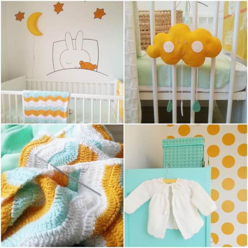 Okergele accessoires en decoraties in de babykamer
