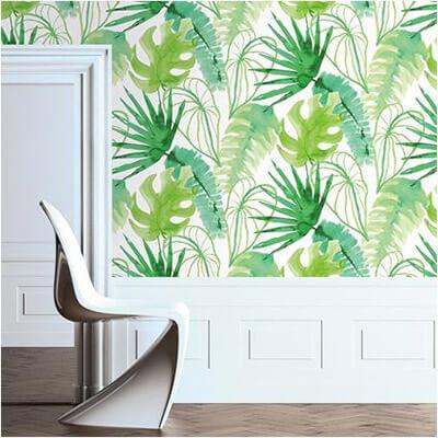 Groen in huis op behang