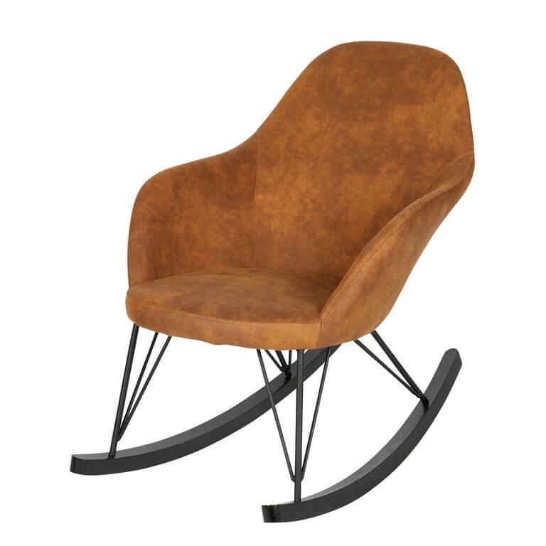 Luxe schommelstoel met imitatie leer