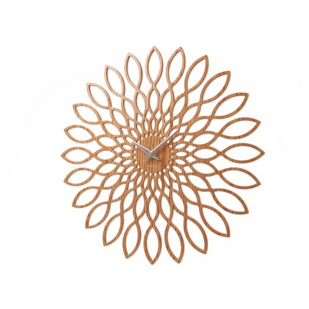 Zonnebloem patroon houten wandklok