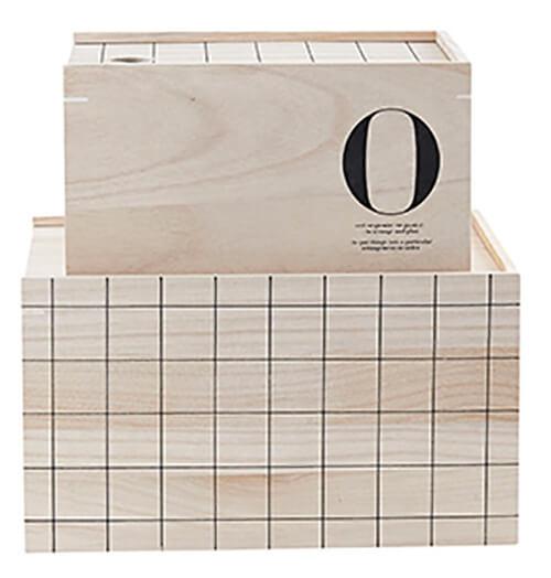 10 woonaccessoires met patroon doos grid