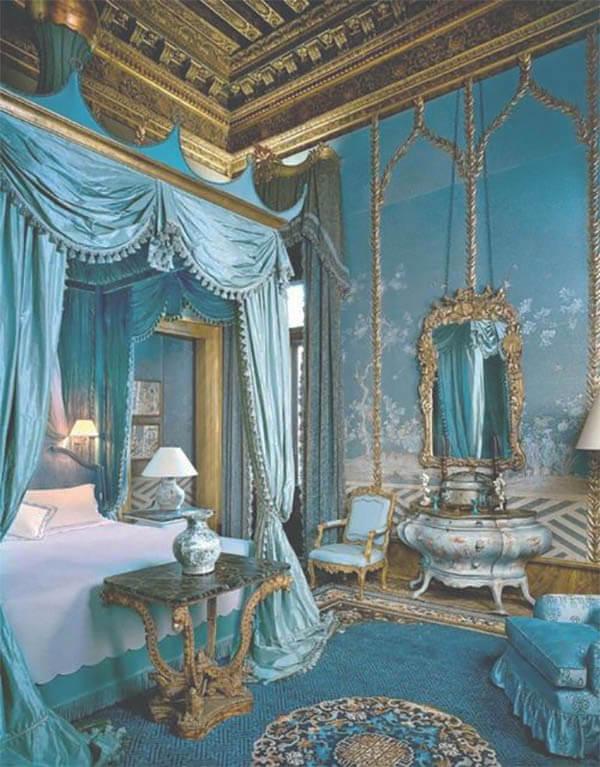 Barok slaapkamer blauw