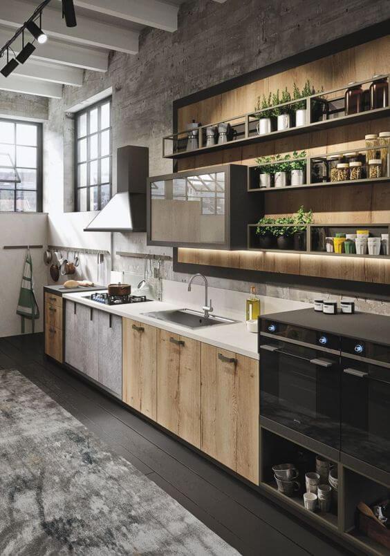 Industriele keuken met bijzonder houten design