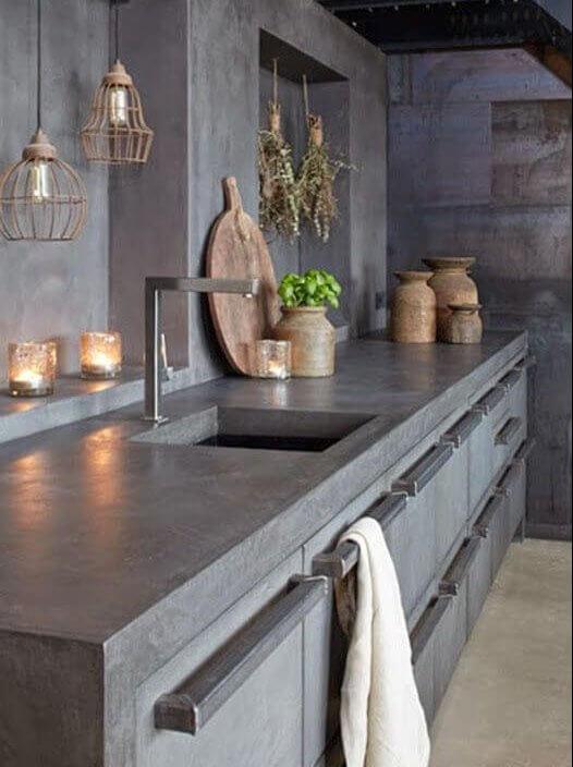industriele keuken met minimalistisch beton