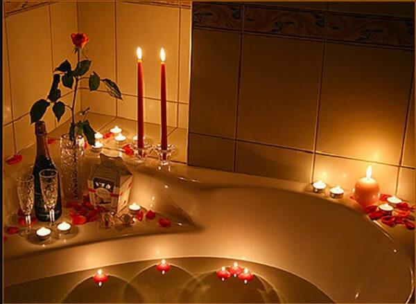 Romantische badkamer kaarsen