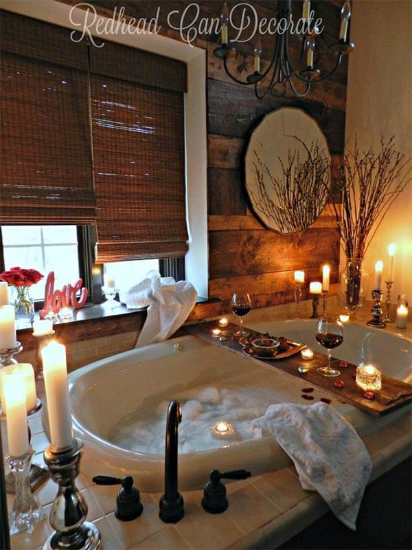 Romantische badkamer wijn