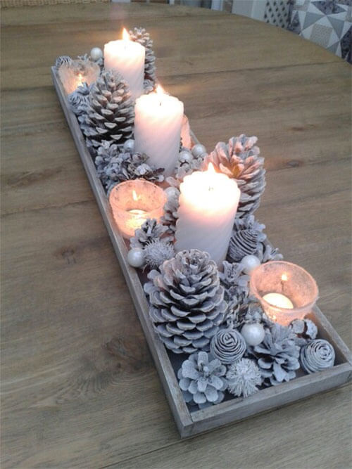 Winterdecoratie dienblad