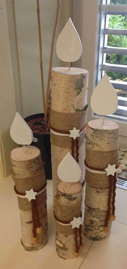 Winterdecoratie houten kaarsen
