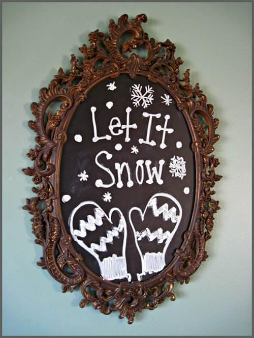 Winterdecoratie krijtbord