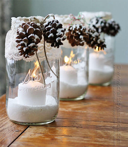 Winterdecoratie mason jar