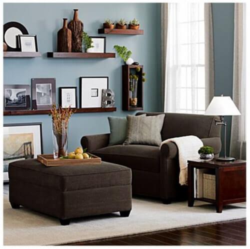 Love The Blue Walls With Brown Couch: Kleur In Huis: 10 Keer Blauw En Bruin