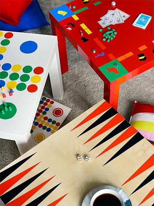 Kleurrijke meubel make-overs: tafels