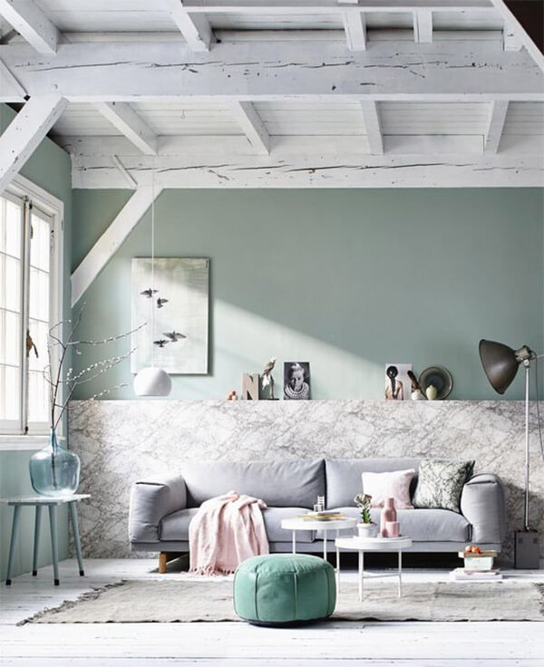 Pastel interieur marmer