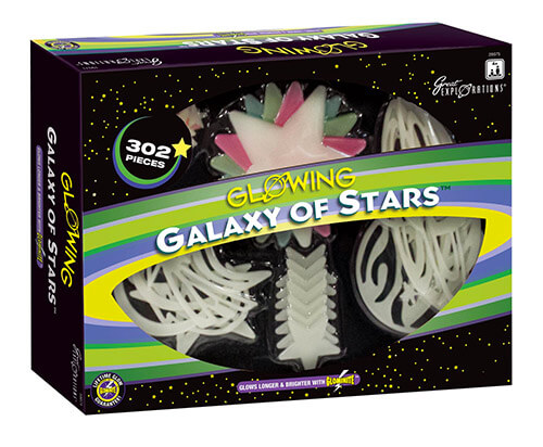 Galaxy items glow in the dark