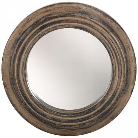 Ronde klassieke spiegel met naturel hout
