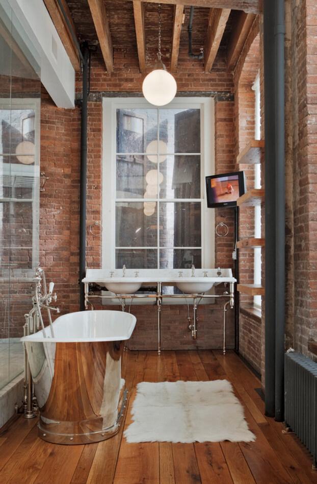 Vintage industriele badkamer