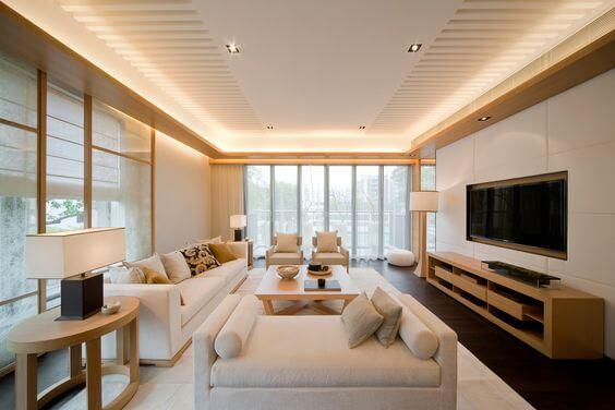 wit houten woonkamer