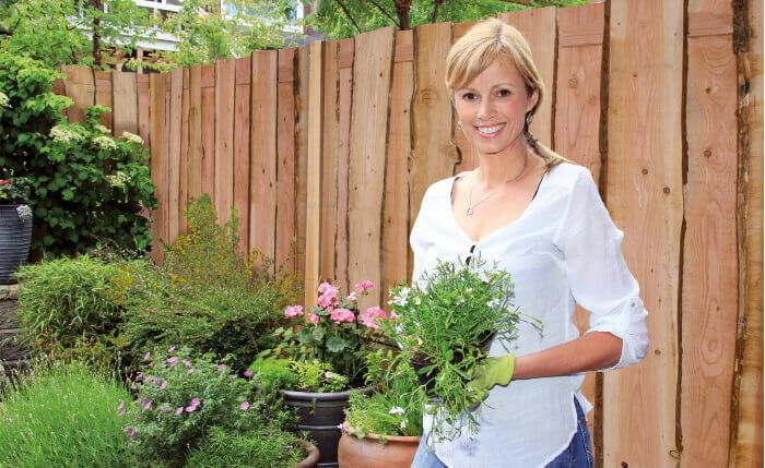 Duurzame planten en schutting