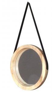 ronde spiegel hout leer