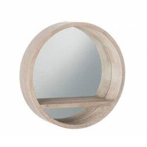 ronde spiegel hout j-line