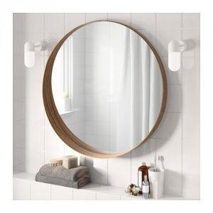 ronde spiegel hout badkamer