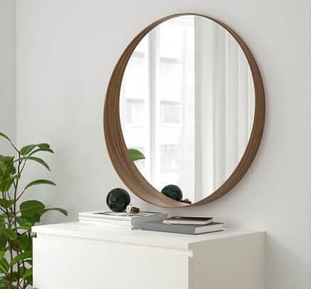 ronde spiegel hout natuurlijk