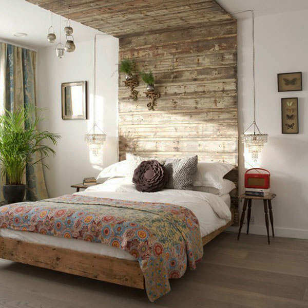 landelijke slaapkamer houten plafond
