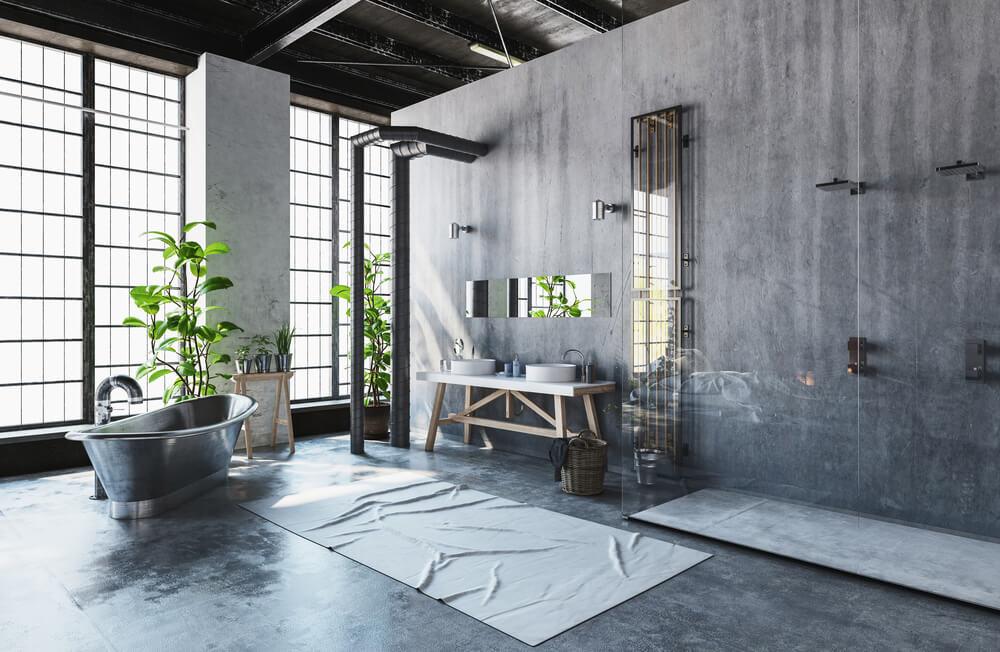 Industriële tegel trend badkamer