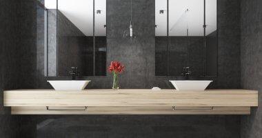 Badkameridee: wasbak op een zwevende plank