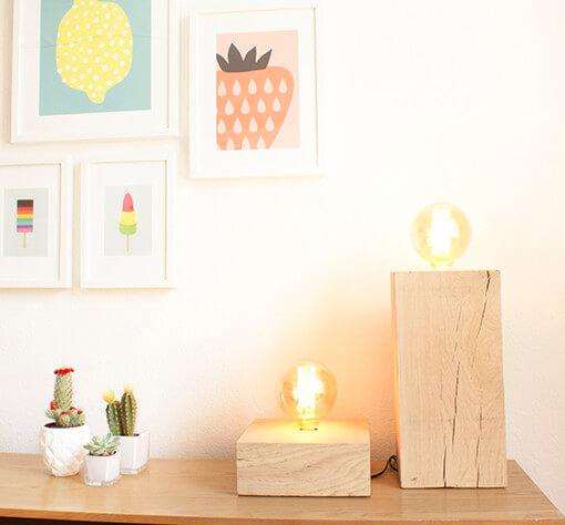 gloeilamp tafellamp hout