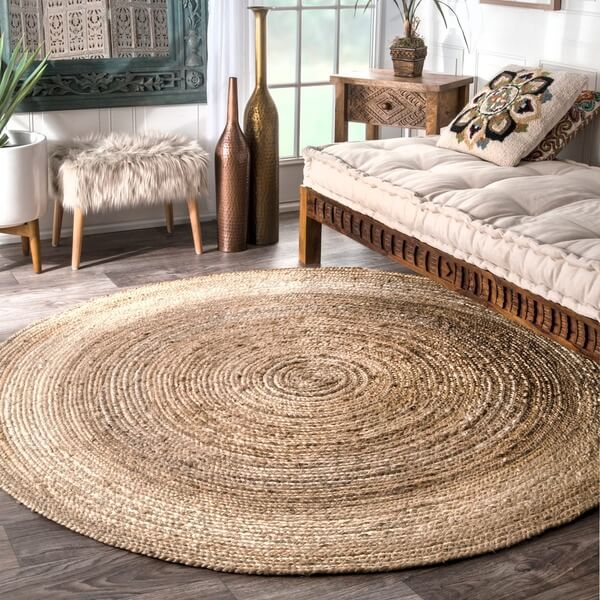 on trend het ronde jute kleed ik woon fijn. Black Bedroom Furniture Sets. Home Design Ideas