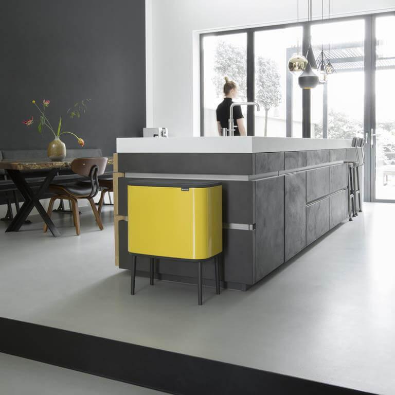 duo afvalbak design geel