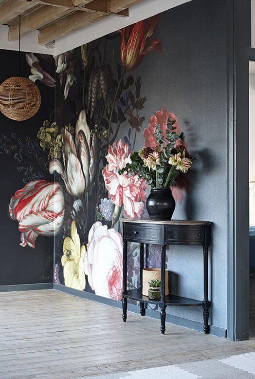 bloemen muur behang