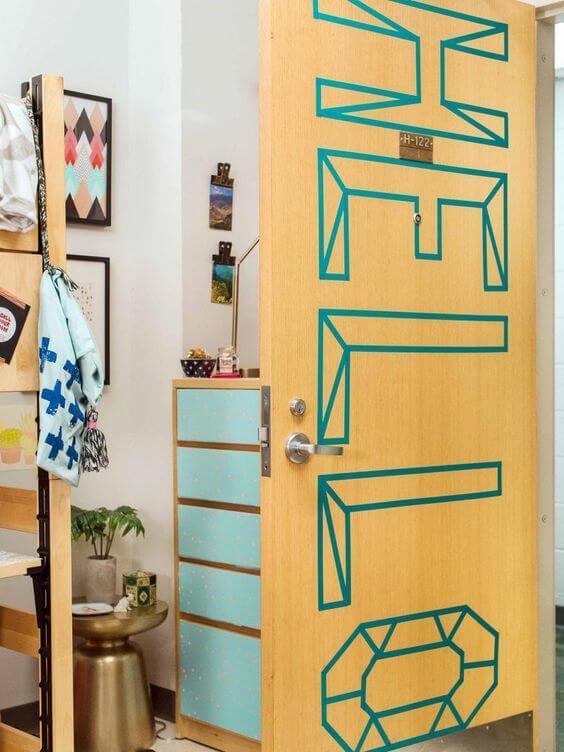 tekst deur washi tape
