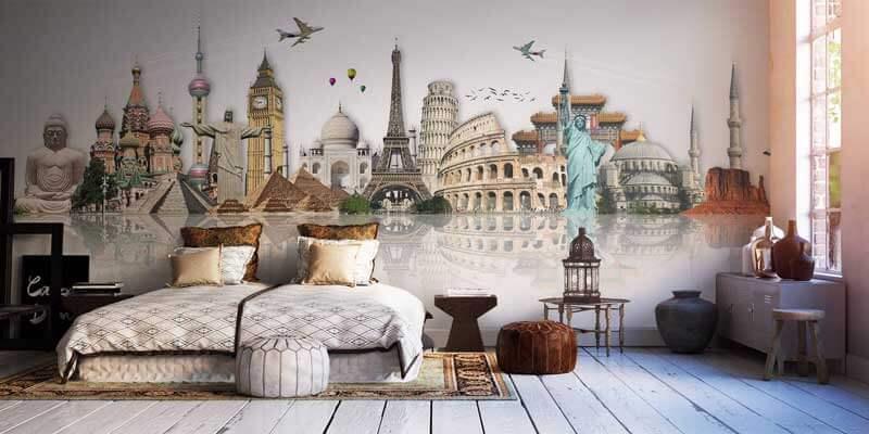 Je vakantieherinneringen aan de muur met fotobehang