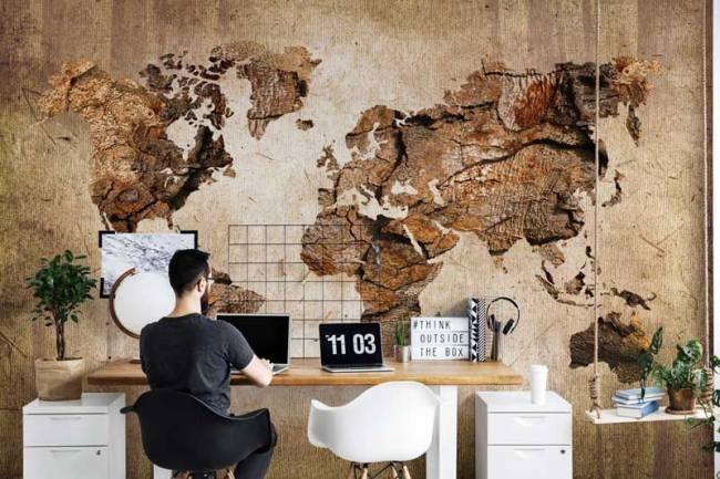 Uniek: fotobehang als landkaart op de muur