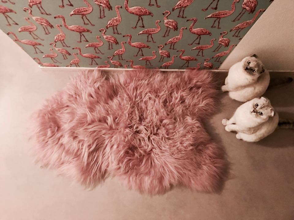 schapenvacht kleedje roze