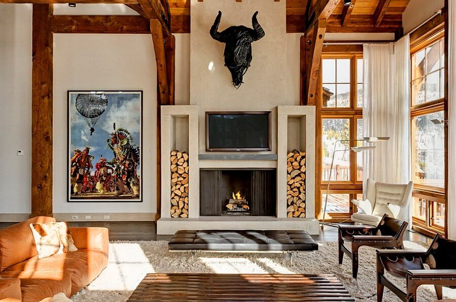 houtstapel in huis