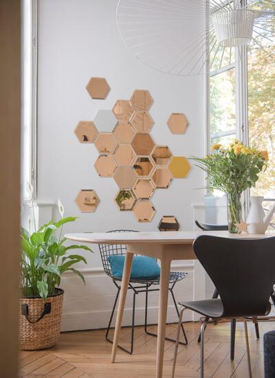 gekleurde spiegel hexagon