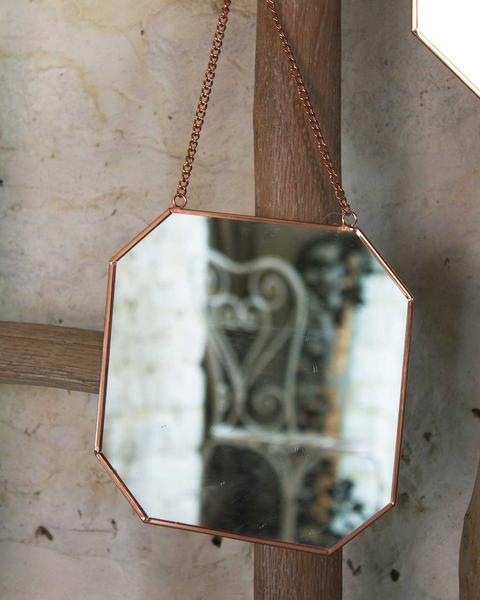 hexagon spiegel ketting vintage
