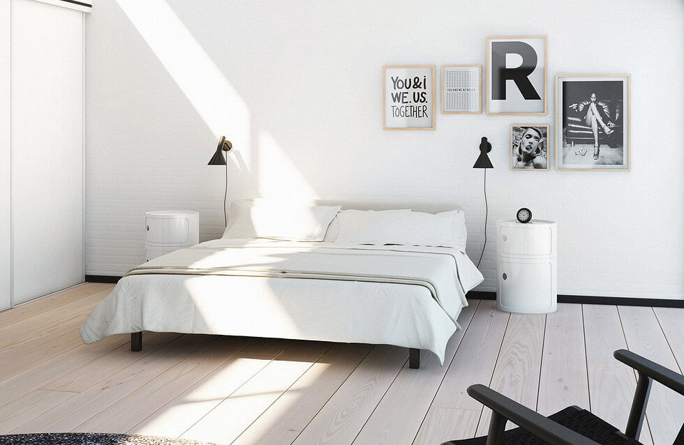 monochroom slaapkamer zwart wit