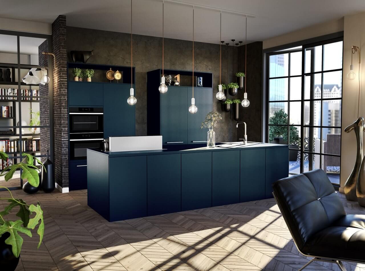 Zeeblauwe industriële keuken